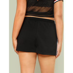 Contrast Striped Side Drawstring Waist Shorts