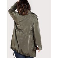 Satin Button Up Longline Jacket