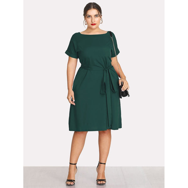 Boat Neck Self Tie Waist Dress
