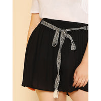 Shirred Waist Wide Leg Shorts With Belt Detail
