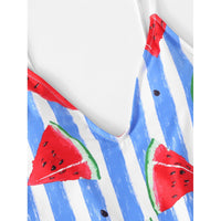 Watermelon Print Striped Swimsuit