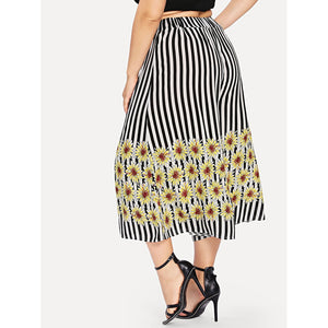 Floral Print Striped Wide Leg Pants