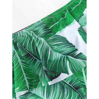 Jungle Leaf Print Flounce Bardot Swimsuit
