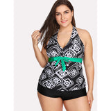 Geometric Print Knot Two Piece Swimwear