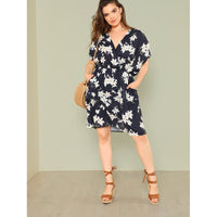 Ditsy Print Wrap Batwing Dress