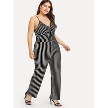 Cut Out Twist Front Striped Cami Jumpsuit
