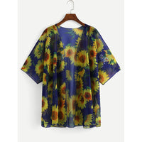 Sun Flower Print Cover-Up