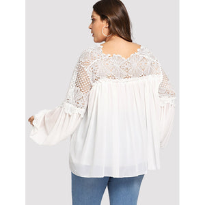 Bishop Sleeve Lace Insert Blouse