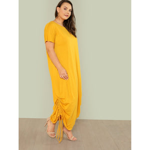 Drawstring Side Solid Tee Dress