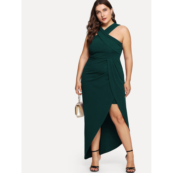 Cross Halter Neck Wrap Dress