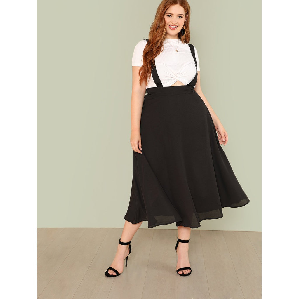 Boxed Pleated Solid Skirt With Thick Strap