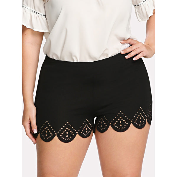 Scallop Laser Cut Shorts