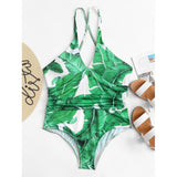 Jungle Leaf Print Crisscross Back Swimsuit