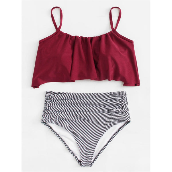 Flounce Striped Bikini Set