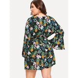 Bell Sleeve Pineapple & Flower Print Jumpsuit