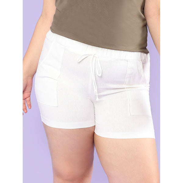 Elasticized Waist Shorts with Dual Pockets IVORY