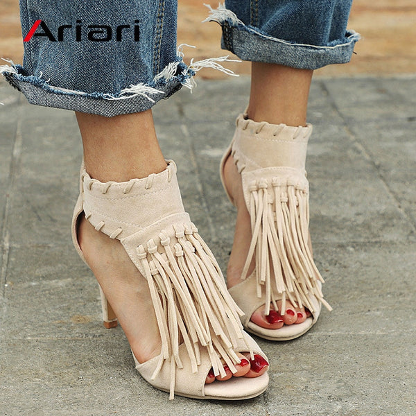 Ariari Fashion Elegant Tassel Women Sandals High Heels Summer Shoes For Ladies 2018 Hot Sale Sexy Woman Pumps Plus Size 42 43
