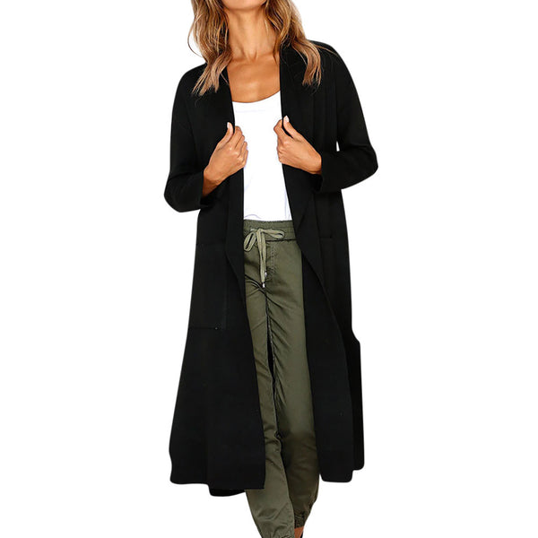 Women Long Sleeve Solid Open Front Cardigan Blouse Tops With Pocket
