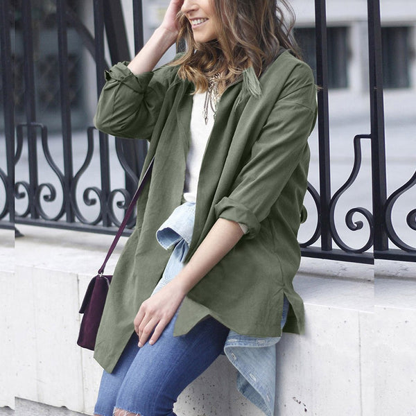 Women Long Sleeve Jacket Windbreaker Parka Pockets Cardigan Thin Blet Coat