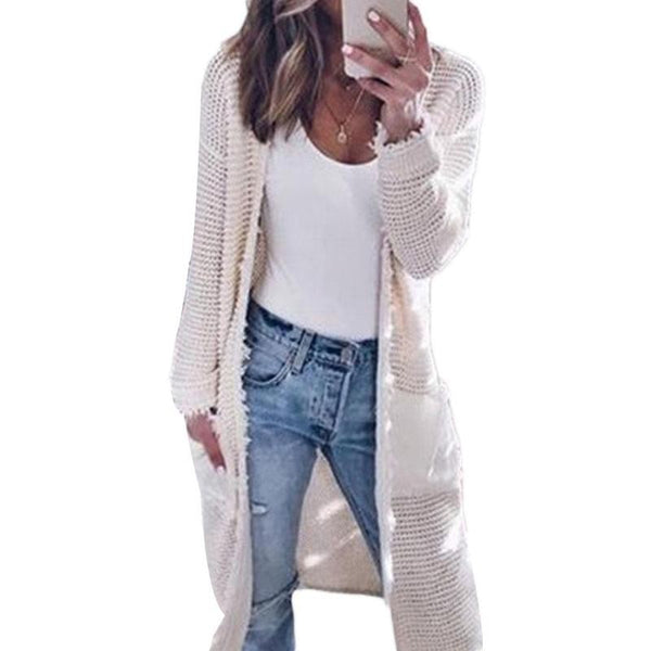 Fashion Women Long Sleeve Pure Color Cardigan Coat Casual Knitted Knitwear Sweater Coat Clothing