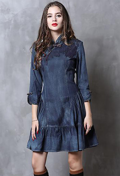 S M L XL vintage cotton new autumn 2018 women jeans midi dress 3/4 sleeve denim blue slim A line floral embroidery elegant lady #A82111