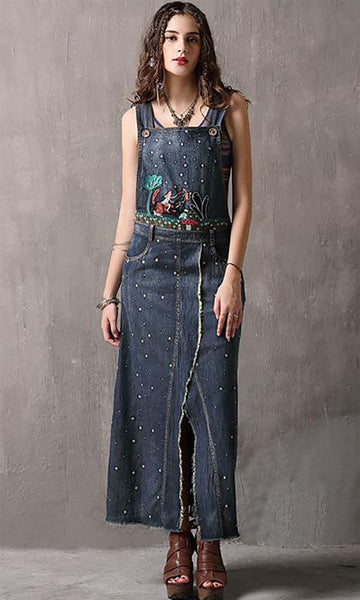 S M L vintage jeans new summer 2018 long denim dress women sleeveless blue cotton jumpsuit straight ankle length flower embroidery lady #82100