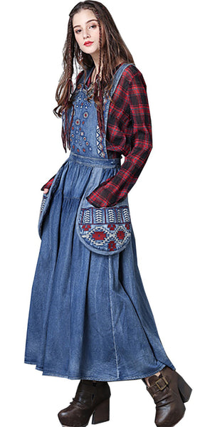 S M L vintage cotton autumn 2018 long jeans dress women sleeveless blue denim maxi embroidery casual #82038