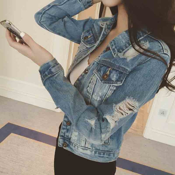 JUNMA Autumn Denim Jacket Women 2018 Long Sleeve Slim Outwear Light Washed Short Jeans Jacket Coats