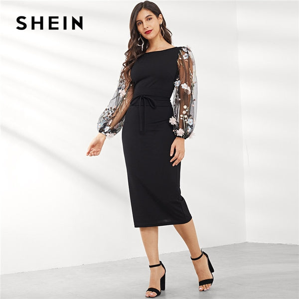 SHEIN Black Applique Embroidered Mesh Sleeve Pencil Dress Women Autumn Elegant Casual Boat Neck Bishop Sleeve Pencil Dresses