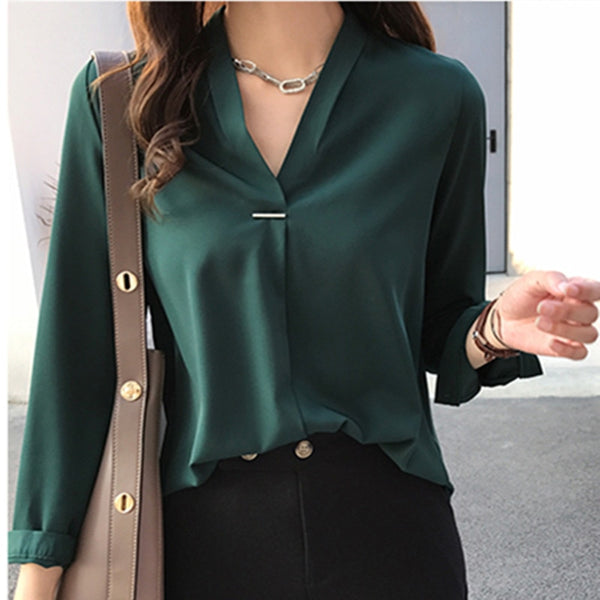 Now Autumn Spring Women Tops and Blouses Chiffon Blouse Long Sleeve Shirts Fashion Ladies Tops 2018 Plus Size Women Shirt Blusas