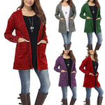 Women Long Sleeve Pockets Tops Blouse Loose Long Cardigan Coat Jacket Outwear