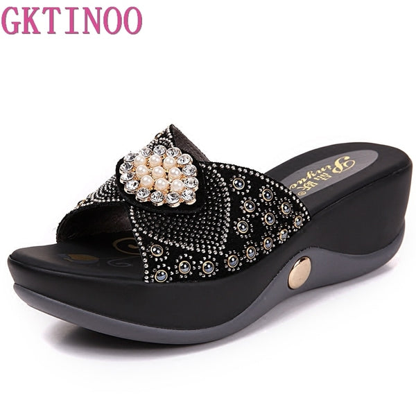 GKTINOO Women sandals comfortable geuine leather fashion women's casual shoes summer sandals plush size 35-41