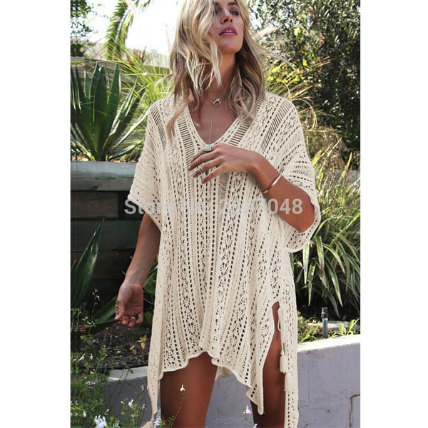 2019 new sexy Women's see-through hollow out Beachwear Bikini Cover-Ups Beach Wear Cover Up Kaftan Ladies Summer Swimwear Dress