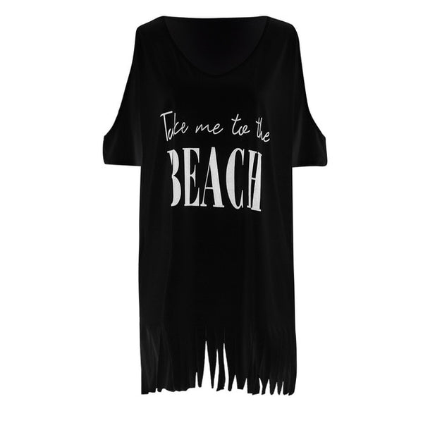 New Beach Cover Up Women's Letters Print Cold Shoulder Tassels Batwing Baggy Swimwear Bikini Cover-ups Beach Tunics Blouse Top