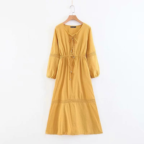 Boho Hippie Lace Patchwork Maxi Dress 2018 Women Autumn Long Sleeve V neck Sexy Dresses Ladies Yellow Big Hem Casual Long Dress