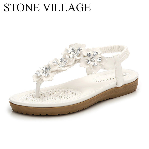 2018 Summer New Crystal Flower Bohemia Women Sandals Flat With Sweet Solid Beach Women Shoes Elastic Band Slip-On Ladies Sandals