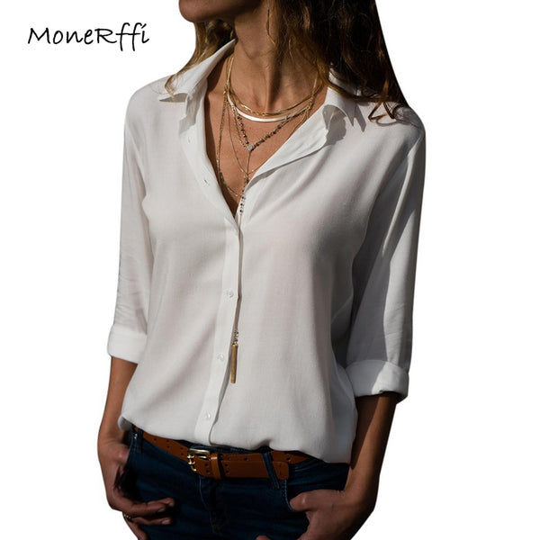 MoneRffi Women Sexy Deep V-Neck Chiffon Blouse Solid Long Sleeve Button Shirts Autumn Office Lady Elegant Blusas Tops Plus Size