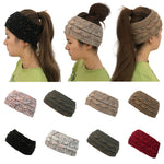 Brand New Womens Girl Stretchy Knit Hat Messy Bun Ponytail Beanie Holey Warm Caps Winter