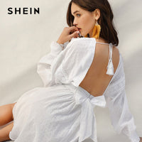 SHEIN Lady Sexy Guipure Lace Dot Jacquard Knot Backless Deep V Neck Mini Dress Women Spring Boho Fit and Flare Midi Dress