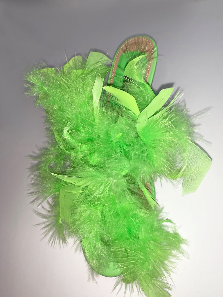 LIME GREEN FEATHER MULE