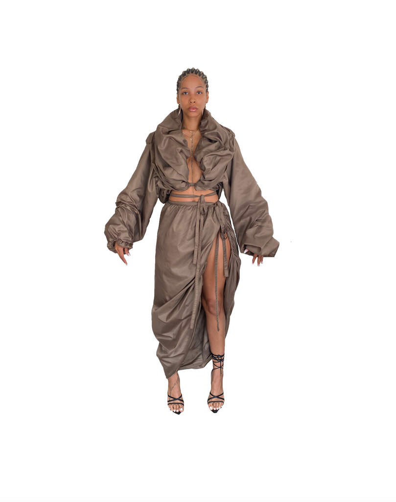 TAUPE WINDBREAKER DRAPED SKIRT