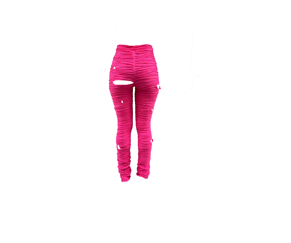 PINK DISTRESSED TROUSER