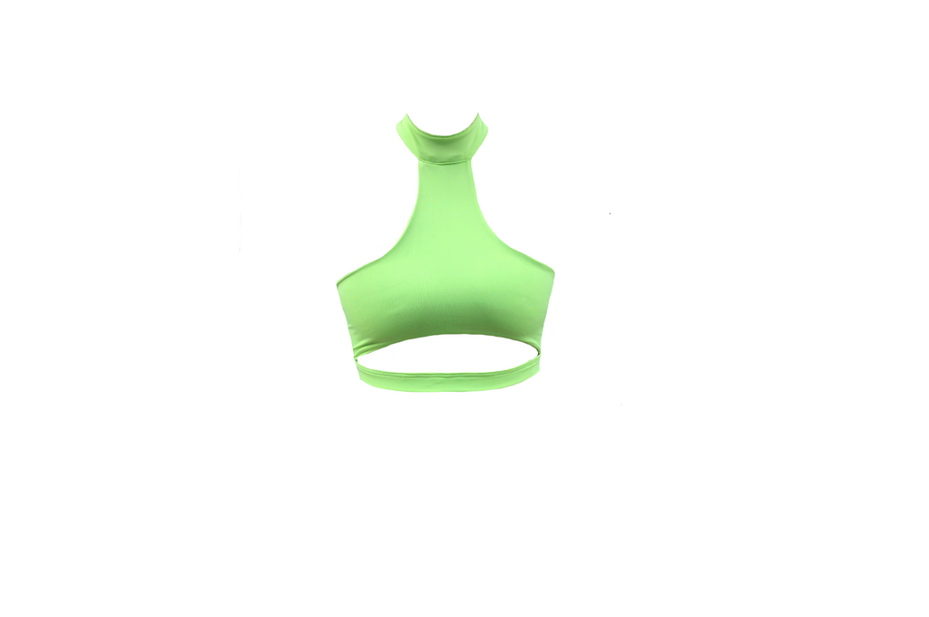LIME GREEN T-NECK CUT OUT CROPPED TOP (MADE TO ORDER)