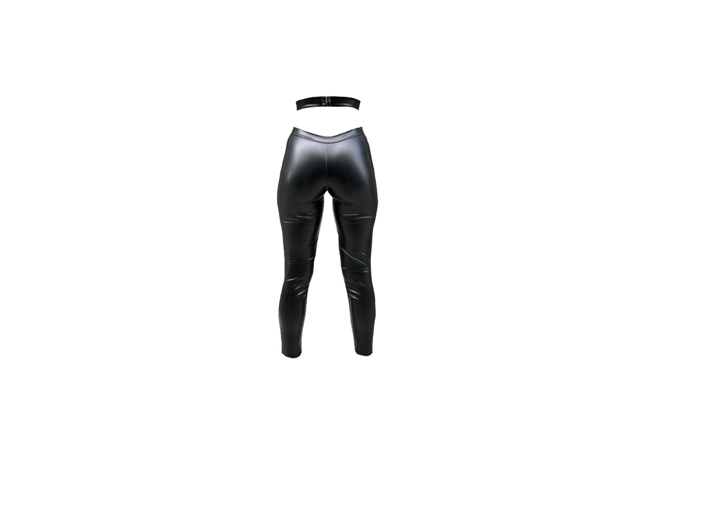 BLACK VINYL WRAP AROUND TROUSER (MADE TO ORDER)