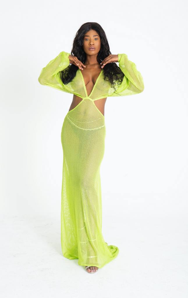 FISH NET LIME GREEN GOWN