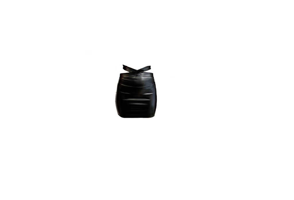BLACK VINYL WRAP AROUND SKIRT