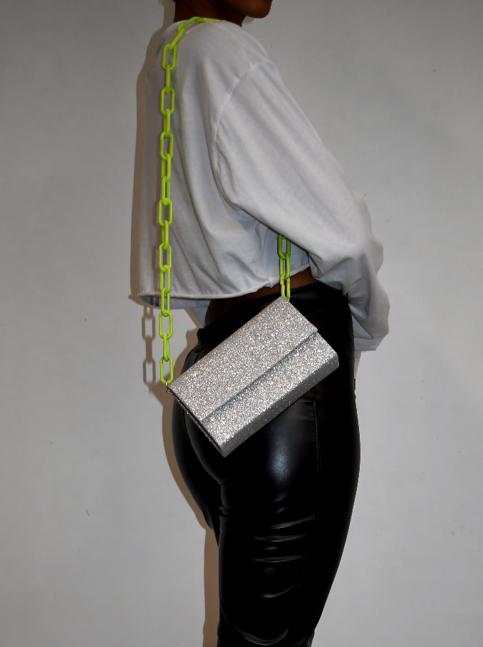 SILVER GLITTER CHAIN LINK BAG