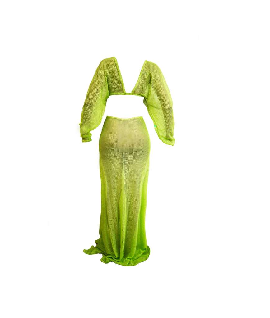 FISH NET LIME GREEN GOWN (MADE TO ORDER)