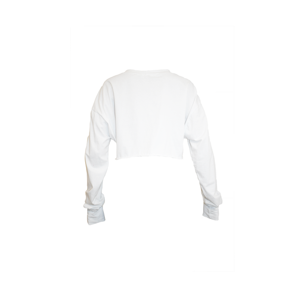 WHITE V CUT OUT LONG SLEEVE T-SHIRT