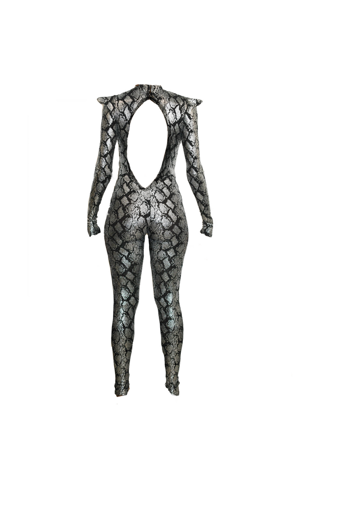 SILVER PYTHON CATSUIT